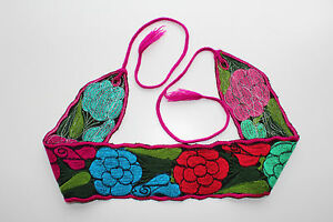 """Mexican Colorful Embroidered Flowers Wide Corset Belt 4"""" wide Adjustable M/L 38"""