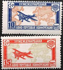 RUSSIA SOWJETUNION 1927 326-27 C10-11 Air Post Cong. Airplane over Worldmap MNH