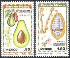 MEXICO 1981 fiori/Fruit/Piante/FLORA/CACAO/Avocado/FOOD/NATURA 2 V Set n24969