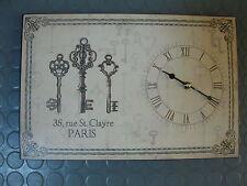 Uhr aus Blech mit Schlüssel 38 cm mal 25 cm 2 kg schwer