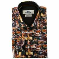 BRAND NEW CLAUDIO LUGLI RUSTY VOLKSWAGEN PRINTED SATIN COTTON MEN'S SHIRT