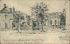 Feldpostkarte Zeichnung Schulze Kirche Witry-les-Reims Zerschossene Häuser 1. WK