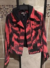 NWOT Miss Sixty M60 Women's Hooded Suede Moto Jacket Distressed Faded Red M