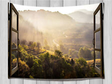 Mountain Scenery Outside Window Tapestry Wall Hanging for Living Room Bedroom