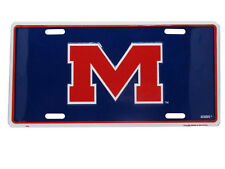 "Ole Miss Mississippi Rebels ""M"" Football 6""x12"" Aluminum License Plate Tag"