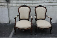 Exquisite Pair of French Bergere Rosewood Armchairs, New Upholstery 19TH C