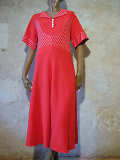 CHIC VINTAGE ROBE ROUGE JERSEY 60s DRESS VTG SIXTIES MOD NAVY ABITO  (40)