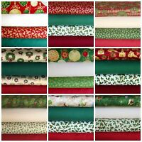 Christmas Fat Quarter Fabric Bundles 100% Cotton Choice of Designs Traditional