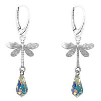 FASHIONS FOREVER® 925 Sterling Silver Dragon Fly Crystal Drop Leverback Earrings