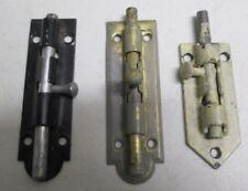 Vintage Lot of 3 Sliding Door Locks Barrel Bolt Brass Black