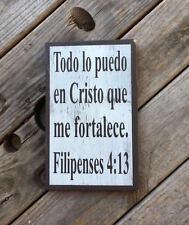 Hispanic wall art. Spanish bible verse. Todo lo puedo en Cristo. Mexican decor