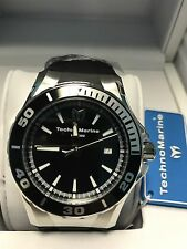 TECHNOMARINE Men's TM-215054 Sea Manta Silver with Black Strap Swiss Watch