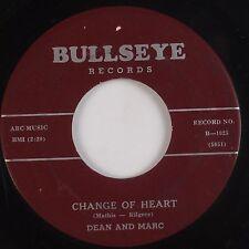 DEAN and MARC: Change of Heart USA Bullseye TEEN Mathis Brothers 45 Hear