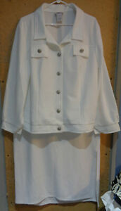 NEW Monroe & Main White Poly Knit 2X Skirt and Jacket Set Button Up Stretch 20