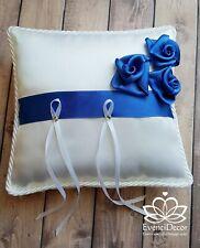 Cuscino portafedi quadrato in raso con rose fatte a mano *cuscinetto fedi strass