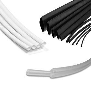 BLACK WHITE CLEAR HEAT SHRINK ELECTRICAL TUBING WRAP SLEEVING CAR 2:1 RATIO TUBE