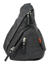 Canvas One Strap Sling Bag with Leather Trim for Men & Women - Charcoal Black