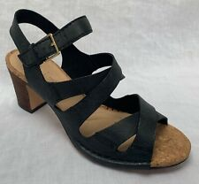 BNIB Clarks Ladies Spiced Ava Black Leather Heeled Sandals