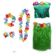 LADIES HAWAIIAN SKIRT BRA LEI FANCY DRESS SUMMER CARNIVAL LUAU HULA COSTUME