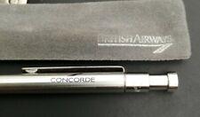 RARE- Concorde Silver Colour Click Biro Pen With Wavy Clip and sleeve