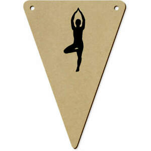 5 x 140mm 'Yoga Tree Pose' Wooden Bunting Flags (BN00063523)