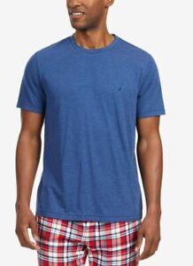 $69 Nautica Men's Woven Pajama Cotton Flannel Blue Solid Sleepwear Shirt Size XL