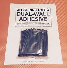 "1/8"" / 3mm I.D Black (4"" 50pcs) Dual-Wall Adhesive Lined 3:1 Heat Shrink Tubing"