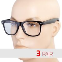 3 PAIR Mens Womens Clear Lens Nerd Retro way Unisex Glasses Fashion Eyewear