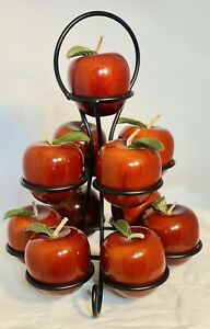 Polished Wood Red Apples With Metal Tree Stand Leather Stems Cloth Leaves