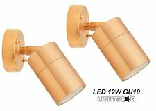 2 x Copper Finish LED Outdoor Exterior Adjustable Tilt Wall Light 240V 12W GU10