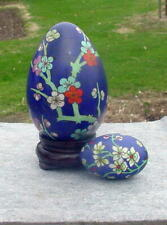 Vintage Large Glass Egg + Small Matching Egg - Blue With Flowers - Gold Etched