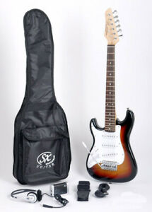 SX RST 1/2 3TS Sunb Left Handed Electric Guitar Package 1/2 Size w/Strap and Bag