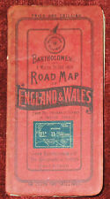"""BARTHOLOMEW'S 1"""":4 MILES PAPER MAP OF CARDIFF,HENLEY,CHICHESTER,SIDMOUTH c. 1920"""