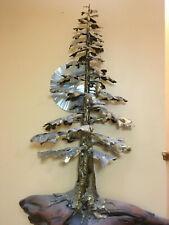 Giant Sequia Metal Tree Sculpture wall mounted brass stainless & cedar base