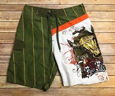 NWT Billabong Foo Fighters Green & Orange Lined Swim Trunks Board Shorts 32
