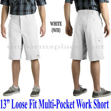 "Dickies Shorts 13"" Loose Fit Twill Stripe MULT-Pocket Work Short Pants 815 White"