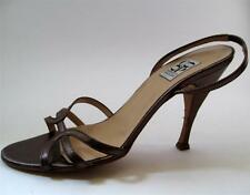 CO-OP BARNEYS NEW YORK 7 Brown Bronze Leather strappy Stiletto Heels Sandals EUC