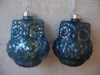 Lustiger Christbaumschmuck * EULE Blau Glas Christbaumkugel Set matt & glänzend