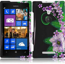 For T-Mobile Nokia Lumia 925 HARD Case Snap On Phone Cover Black Purple Flower
