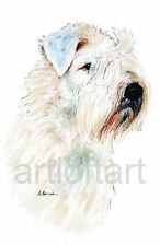 Soft-Coated Wheaten Terrier Dog Art Print Signed A Borcuk Painting