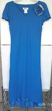 Donna Ricco Cocktail Dress NEW Blue Formal Chiffon High-Low Hem Flower Sz Small