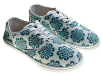 Sole Mates White Green Mandala Geometric Print Canvas Sneakers Size 8
