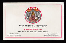 vintage B.F.Keith's New York Hippodrome Toytown birthday greetings adv. card