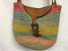 Woven SISAL BAG Natural Multicolor Leather Strap ethnic Jute Purse African Flap