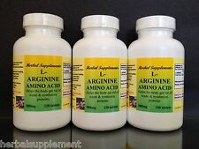 L-Arginine 500mg, High Quality, energy, muscle, Made in USA ~ 360 (3x120)tablets