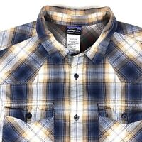 Patagonia Mens Button Front Shirt Sz XL L/S Plaid Blue Cotton Outdoor