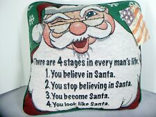 Stages in Mans Life Throw Pillow Christmas Santa Claus Gag Gift