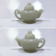 Chinese Miniature Jade Teapot Hand Carved Exceptional Quality Detail