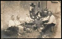 WW1 SOLDIERS PLATOON LUNCH TIME FIELD MEAL RPPC ANTIQUE PHOTO POSTCARD