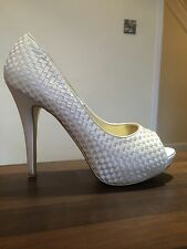NEXT Stunning Ivory Cream Satin Woven Peep Toe High Heels Shoes Size 41 UK 7